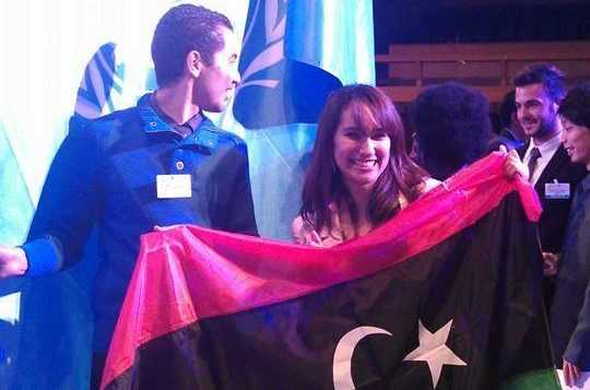 shatha with libyan flag