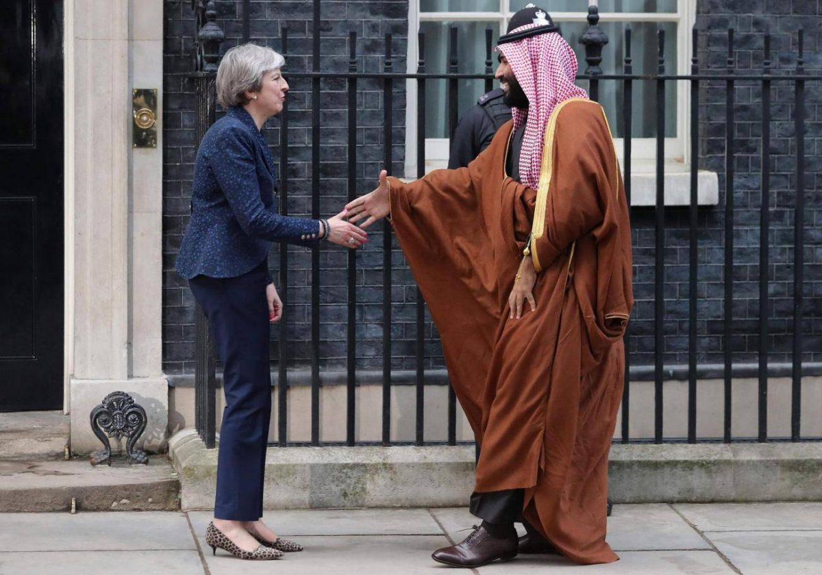 theresa may with mohammed bin salman