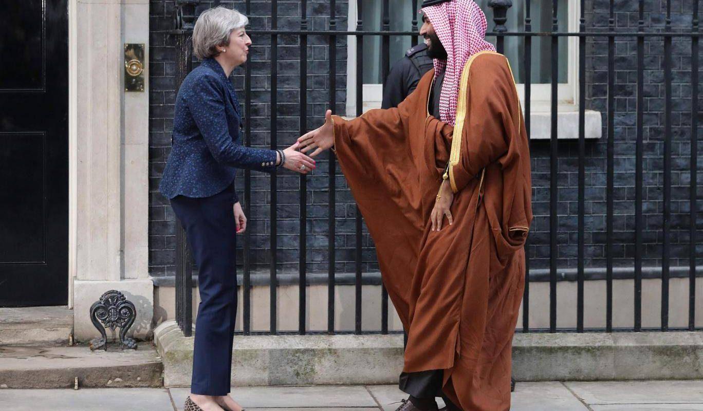 theresa may with mohammed bin salman